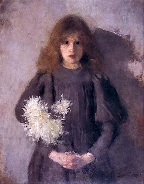 dziewczynka z chryzantemami