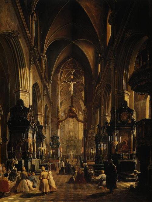 Obraz Aleksandra Gryglewskiego, Wnętrze Kościoła Mariackiego w Krakowie, 1858